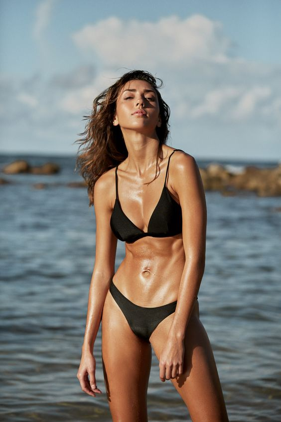 I AM ZAZIE Swimwear, I Am Zazie bikini, beachwear, resort 2018, classic bikini, simple triangle bikini top, black cheeky bikini bottom, classic padded black triangle bikini outfit, beach outfit style, bikini body, bikini fitness inspo, I Am Zazie beach days, triangle bikini, simple black bikini, celebrity bikini trends, rose gold metal hardware, sustainable fashion, Italian Lycra, I Am Zazie in Amalfi coast Italy