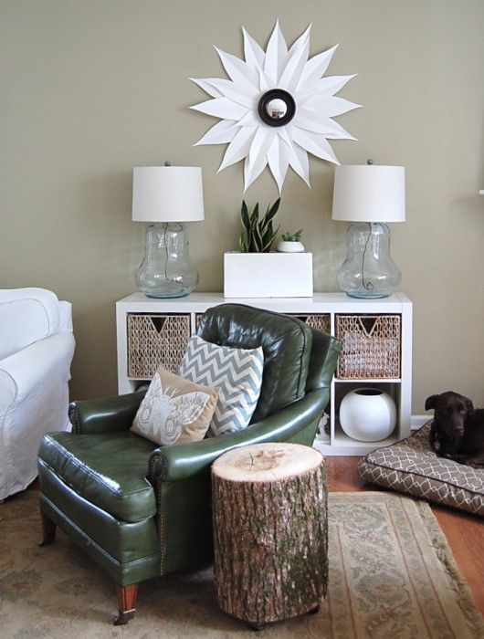 thrifted glass lamps, posterboard sunburst mirror
