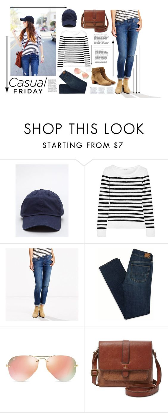 """Casual Friday"" by rubyrenolds ❤ liked on Polyvore featuring Oscar de la Renta, Levi's, American Eagle Outfitters, Ray-Ban, FOSSIL, Anja and Yves Saint Laurent"