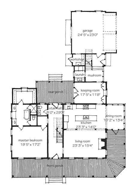 Very nice front porch and floor plan southern living for Home plans with porches southern
