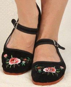 Velvet Mary Jane Chinese Shoes Uk