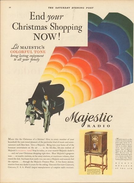 1929 Grigsby Grunow Co Chicago IL Vintage Majestic Tube Radio Piano Christmas Ad