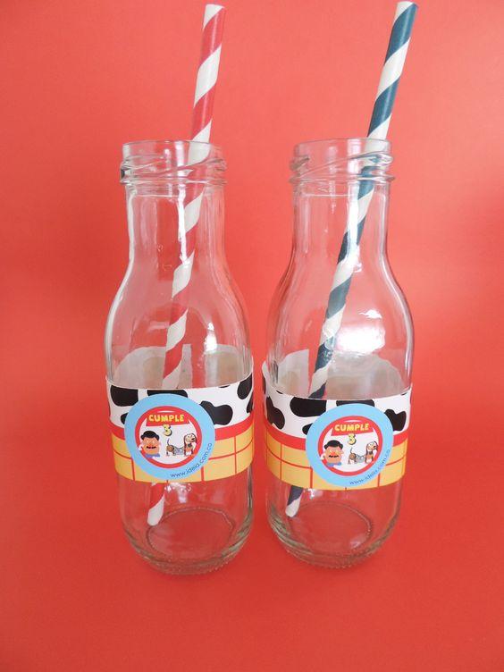 Etiquetas para botellitas de jugo inspiradas en Toy Story