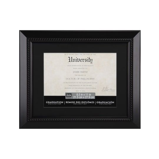 Black Document Frame 11 X 14 With 8 5 X 11 Black Mat By Studio Decor Document Frame Frame Diploma Frame