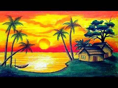 How To Draw Scenery Of Sunset With Oil Pastel Step By Step Easy Draw Youtube Oil Pastel Landscape Drawing Scenery Landscape Drawings