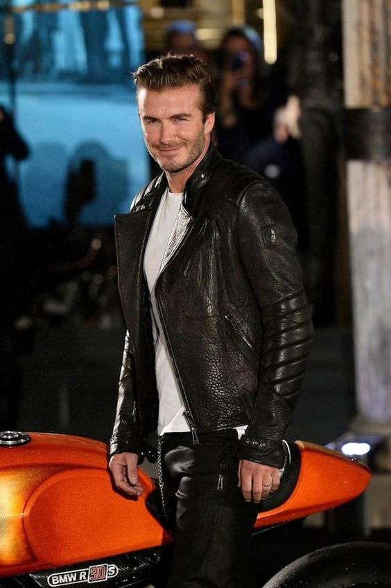 Soccer stud David Beckham rocking a stunning leather jacket ...