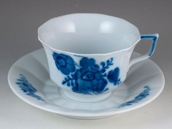 Vintage+Royal+Copenhagen+Blue+Flowers+Angular+Tea+Cup+&+Saucer+Made+In+Denmark+#RoyalCopenhagen