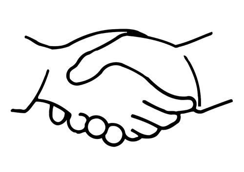 Coloring Page Shake Hands How To Draw Hands Shaking Hands Drawing Hand Outline