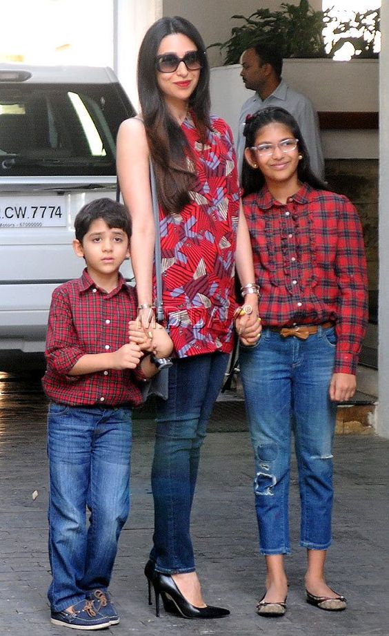 Karisma Kapoor with daughter Samaira and son Kiaan Raj Kapoor at Shashi Kapoor's Christmas lunch. #Bollywood #Fashion #Style #Beauty