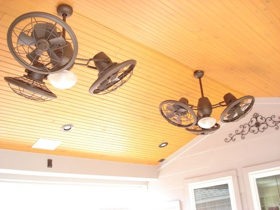 Ceiling Fans For Vaulted Ceilings: This a closeup of a wood ceiling with rustic styled outdoor ceiling fans on  a patio cover and roof extension designed and built by Outdoor Homescapes  of ...,Lighting