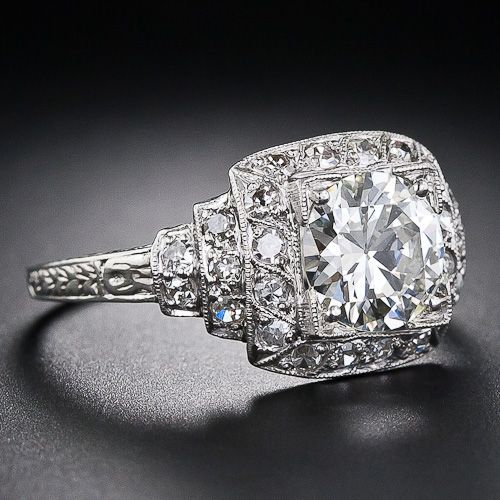 1 44 Carat Art Deco Diamond Ring 10 1 4891 Lang Antiques Art Deco Diamond Rings Art Deco Engagement Ring Fine Diamond Jewelry