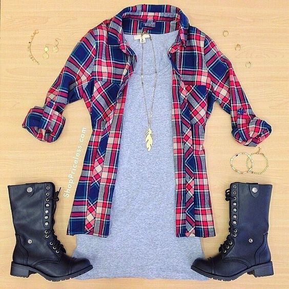 plaid shirt + gray t shirt dress + combat boots