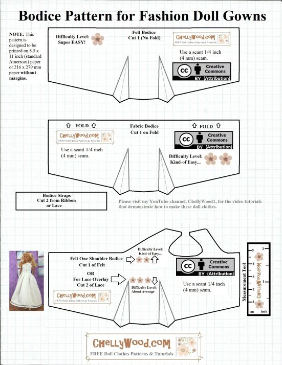 Free Printable Sewing Patterns For Barbie Wedding Dresses At Chellywood Com Easy T Barbie Clothes Patterns Barbie Doll Clothing Patterns Sewing Barbie Clothes
