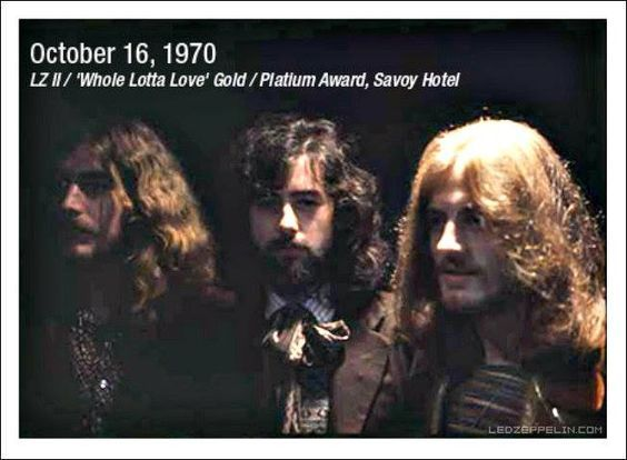 LZ II / 'Whole Lotta Love' Gold/Platium Award Peter Grant, John Paul Jones, Jimmy Page and Robert Plant attend an award ceremony…