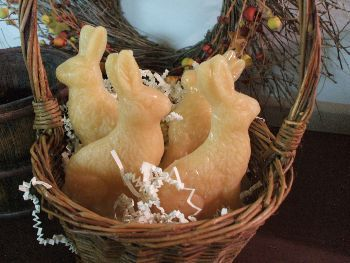 "Made with soy blended wax. Each bunny weighs 1.8 oz and measure 4 3/4"" high.  www.backroad-hobbies.com"