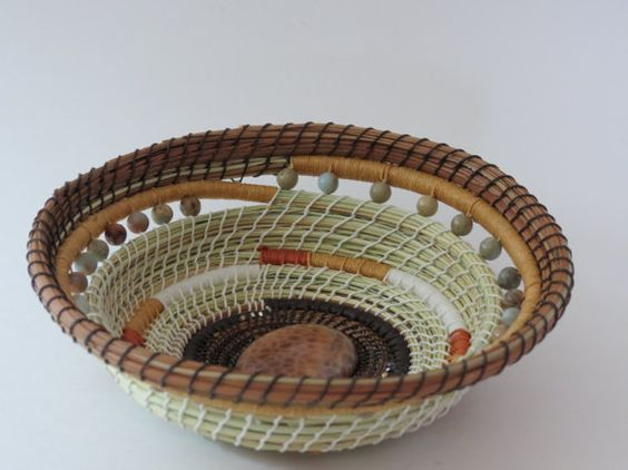 Pine needle basket, green and shades of brown and blue, handwoven basket, home decor, handwoven by Linda Miranda