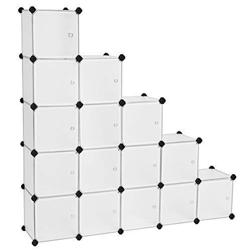 Songmics Etagere De Rangement Avec 16 Casiers Armoire Plastique Avec Porte Modulable Bac Meuble Casier Cube E En 2020 Armoire Plastique Etagere Rangement Diy Rangement