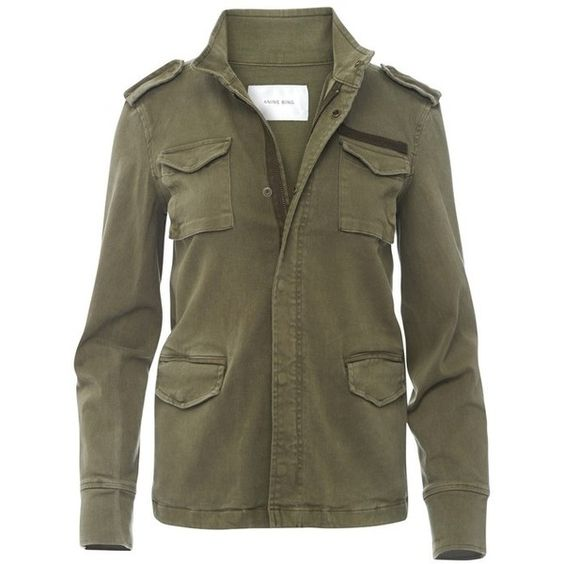 Anine Bing Army Jacket (1 460 PLN) ❤ liked on Polyvore featuring outerwear, jackets, undefined, brown cotton jacket, brown jacket, field jacket, brown military jacket and cotton jacket