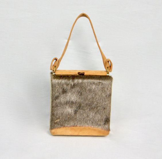 Exquisite Vintage 1970s Pony Deer Fur Hyde Leather Structured Hard Case Box Clutch Bag Handbag by vdpshop on Etsy
