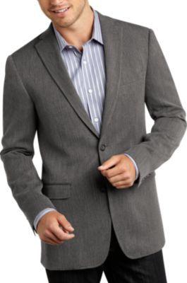 Calvin Klein Gray Herringbone Sim Fit Sport Coat - Slim Fit (Extra Trim) | Men's Wearhouse