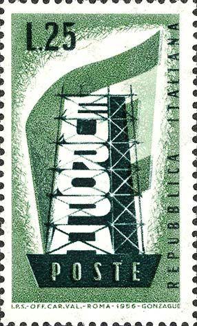 """Emesso il 15 settembre 1956 25 L. - Scritta """"Europa"""" in costruzione e bandiera del movimento europeistico"""
