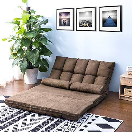 Double Chaise Lounge Sofa Chair Floor Couch With Two Pillows Brown Suede Fabric Soft And Comfortable To Th Floor Couch Chaise Lounge Sofa Double Chaise Lounge