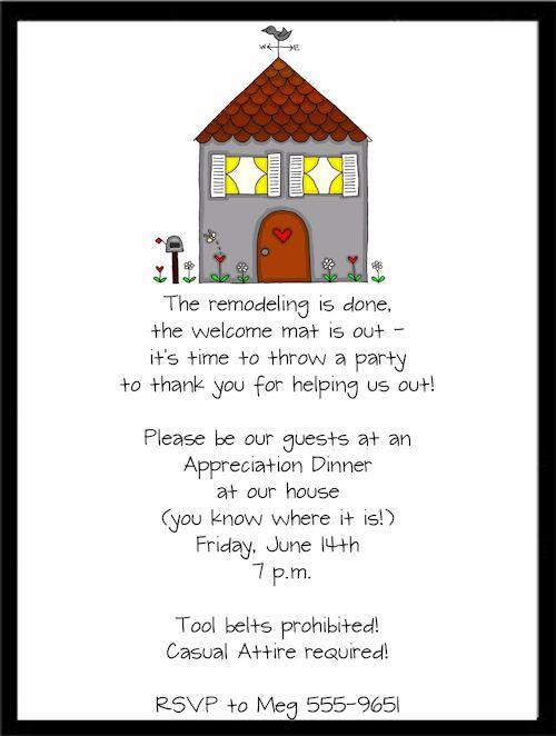 housewarming party invitation wording | new remodel housewarming, Party invitations