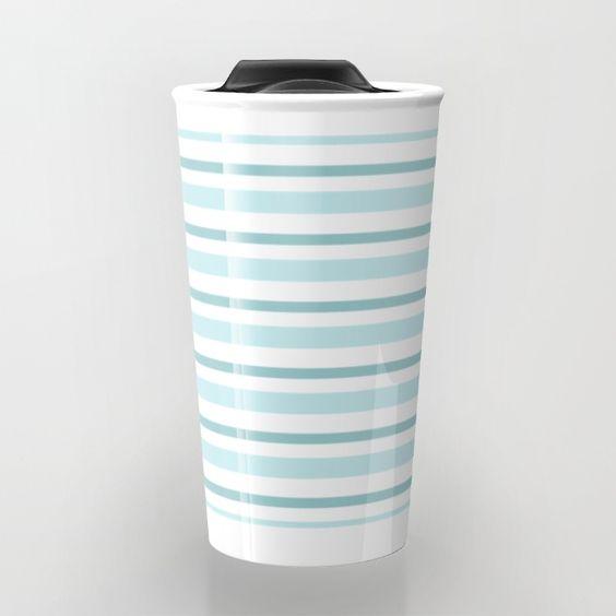 Stripes horizontal - different tones of aqua Travel Mug by Simplicity Of Life | Society6