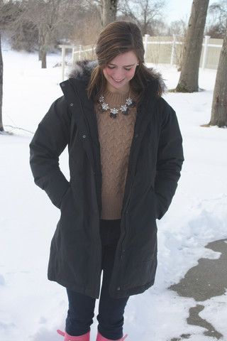 Arctic Parka with Sand and Coral statement necklace #statement #accessorize #preppyaccessories #preppy #prep #hunterboots #pinkhunters #hunters #preppyoutfit #preppystatement #prep #preppyblogger