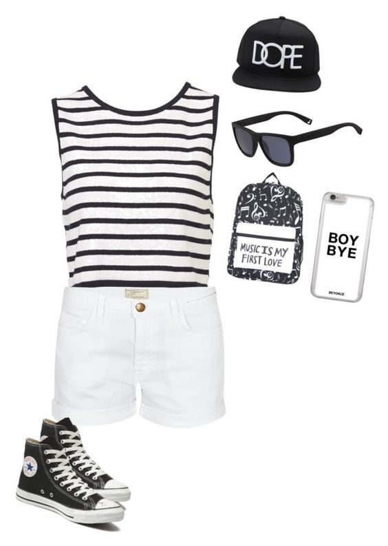 """""""Untitled #1531"""" by sylviabunny ❤ liked on Polyvore featuring Current/Elliott, Converse, Lacoste and Forever 21"""
