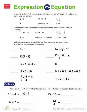 Expression Vs Equation Worksheet Education Com Math Expressions Education Math Teaching Math