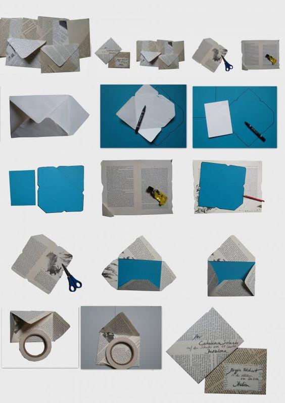 Book art: Briefumschlag aus alten Buchseiten1Briefumschlag auseinander nehmen
