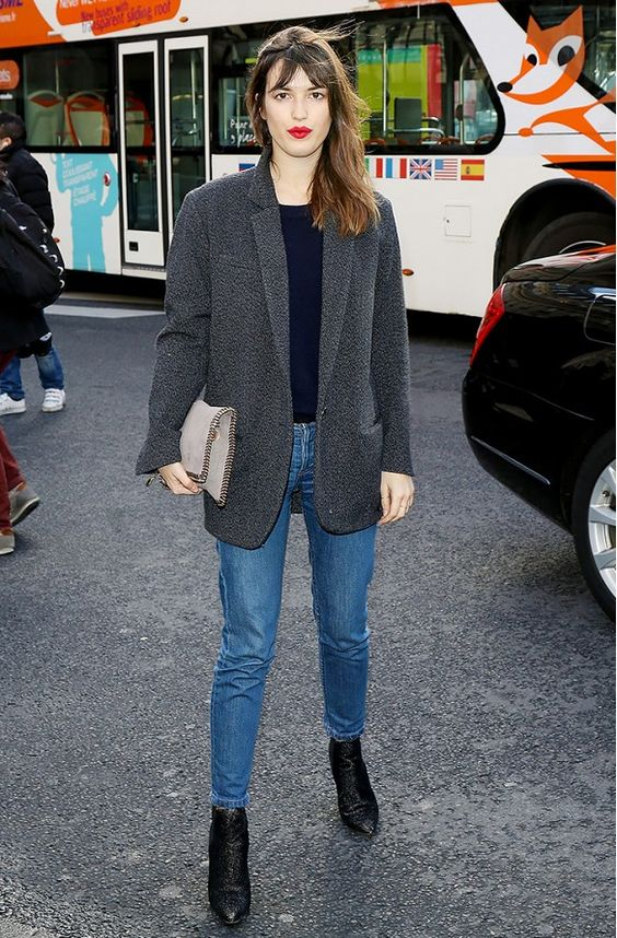 grey blazer, jeans, ankle boots street style: