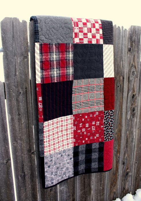 Black and Red plaid flannel quilt: