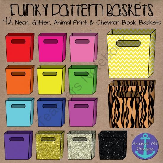 Funky Book Bins- Neon, Glitter, Animal Print and Chevron Baskets from Anchor Me Designs on TeachersNotebook.com -  (42 pages)  - Funky Book Bins- Neon, Glitter, Animal Print and Chevron Baskets