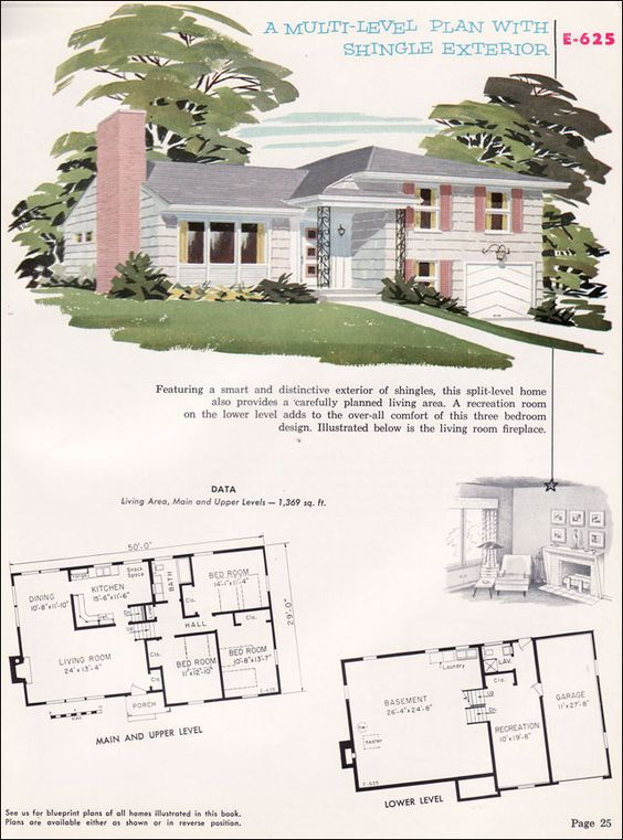 1950s home designs split level cottage style house plans for Split level plans