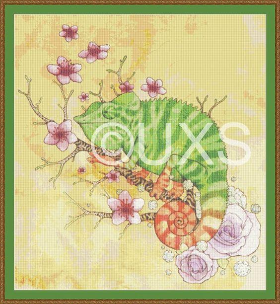 Chameleon wildlife cross stitch pattern by UnconventionalX on Etsy