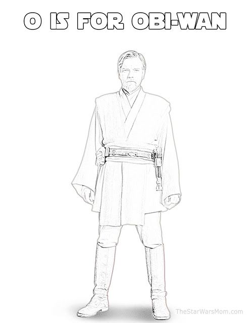O Is For Obi Wan Kenobi Star Wars Alphabet Coloring Page Obi