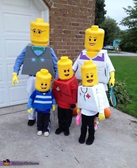 lego costume, concrete forms for heads... could cut in half and attach to sticks for hands also?