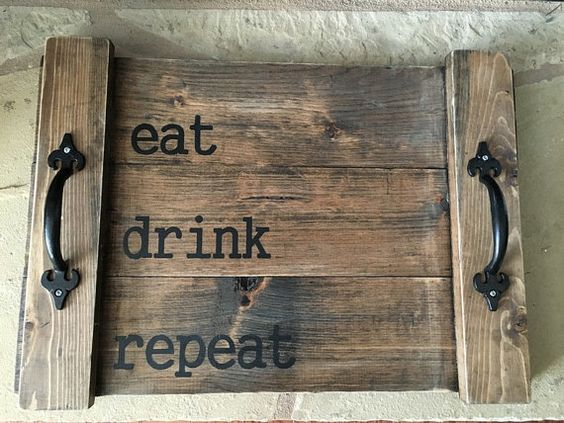 Very sturdy, 20.5 x 14 wood pallet serving tray, 3/4 thick with handles. This rustic serving tray has been handmade by me using pine. True