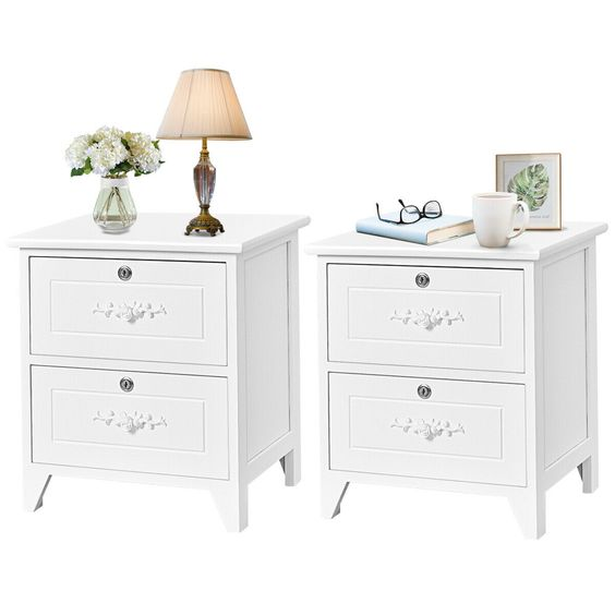 Free 2 Day Shipping Buy Costway Set Of 2 Elegant Nightstand W 2