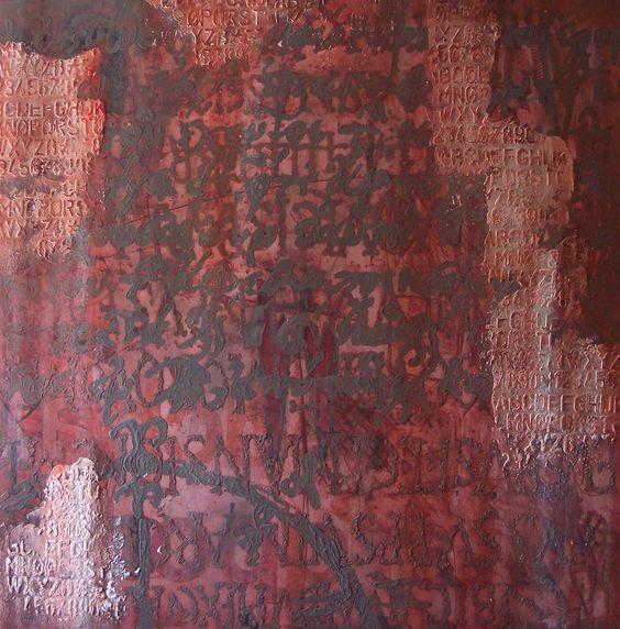 Rotta delle civiltà. Tecnica mista su tela applicata su tavola, cm. 120x120