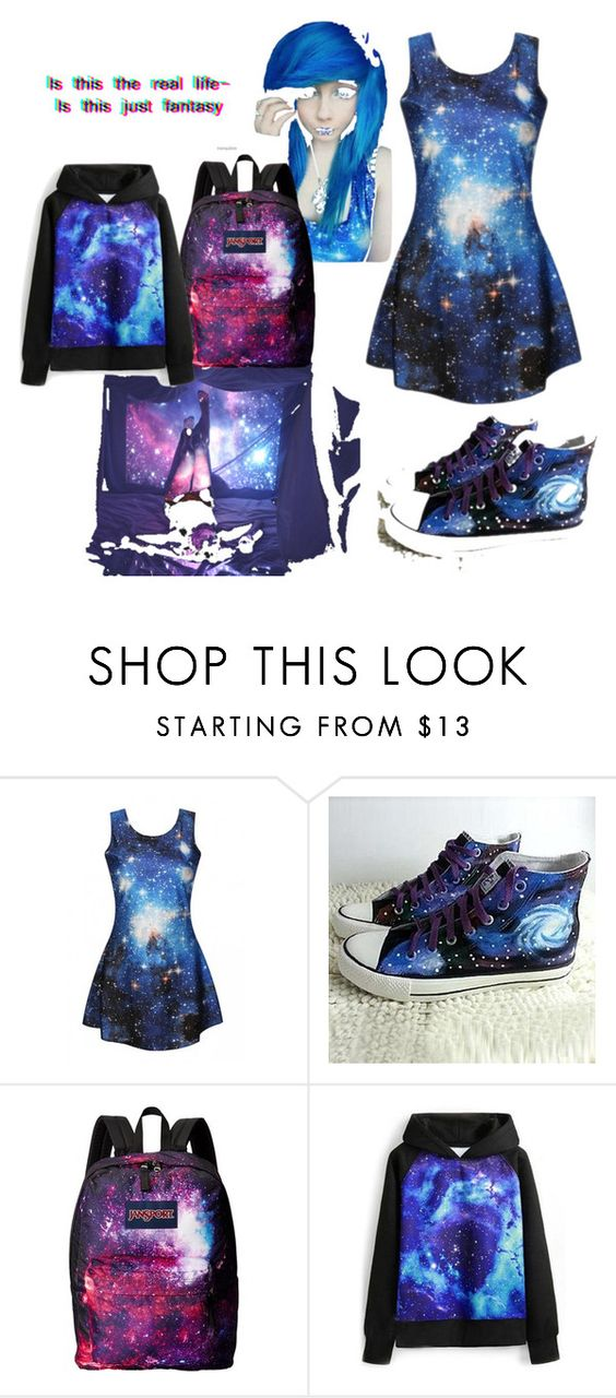 """Galaxia #1"" by yuno15dauntless ❤ liked on Polyvore featuring HVBAO, JanSport, WithChic, women's clothing, women's fashion, women, female, woman, misses and juniors"
