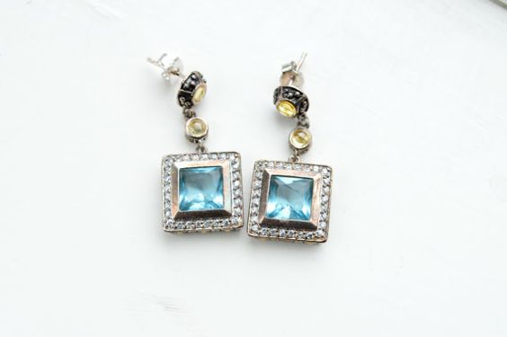 Handmade Sterling Silver Sea Blue Topaz Earrings by barargent, $65.00