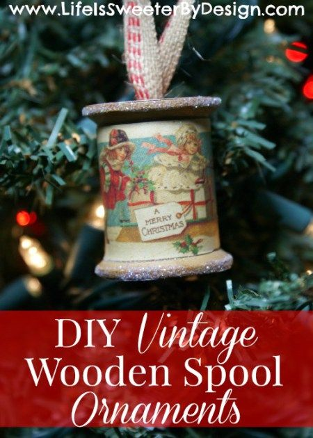 Vintage wooden thread spool repurposed upcycled as Christmas ornament