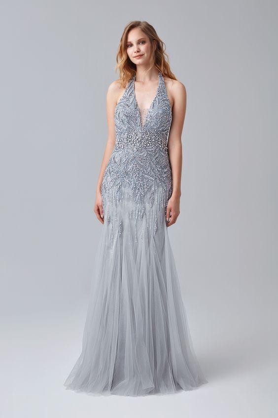Boyundan Bagli Payet Islemeli Abiye Elbise Mezuniyetelbisesi Mezuniyetkiyafetleri Mezuniyetabiye 2018mezuniyetelbiseleri M Elbise Moda Stilleri The Dress