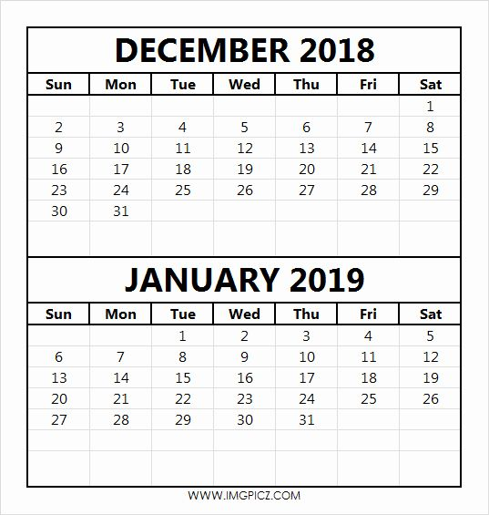 Dec Jan 2018 Calendar Free Printable Calendar Templates