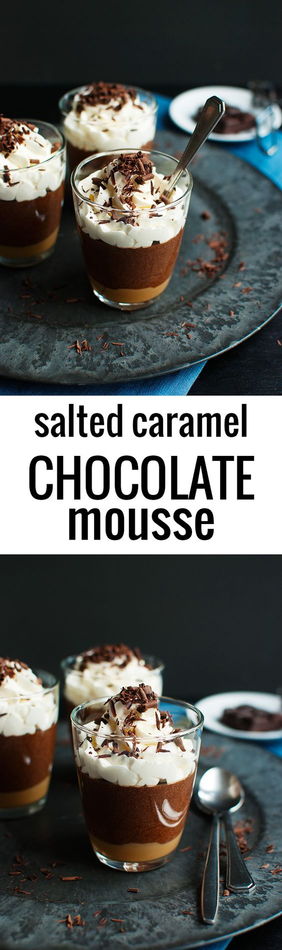 Salted Caramel Chocolate Mousse - A layer of salted caramel topped with a delicious dark chocolate mousse. The best dessert ever and really easy to make! | thetoughcookie.com
