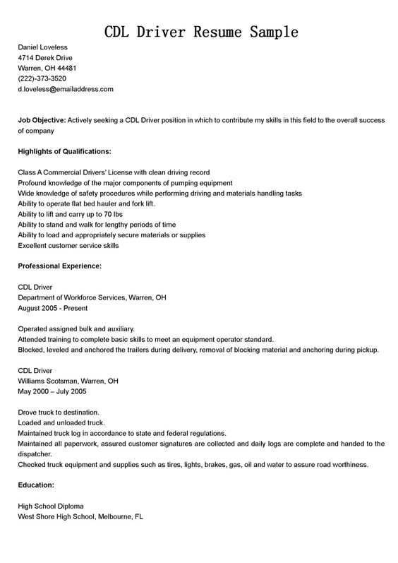 100+ Bus Driver Resume Template - Truck Driver Resume Sample ...