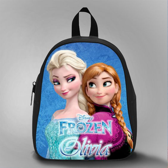 Elsa And Ana Frozen With Name, School Bag Kids, Large Size, Medium Size, Small Size, Red, White, Deep Sky Blue, Black, Light Salmon Color